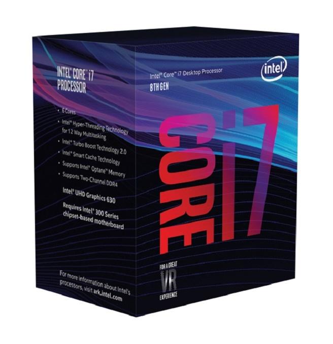 Procesador Intel Core i7-8700, S-1151, 3.20GHz, 6-Core, 12 MB Smart Cache (8va. Generación Coffee Lake) ― Compatible solo con tarjetas madre serie 300