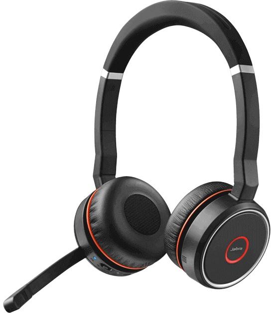 Jabra Audífonos con Micrófono Evolve 75 UC Stereo, Inalámbrico, Bluetooth, Negro/Rojo