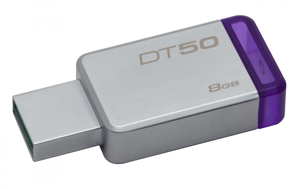 Memoria USB Kingston DataTraveler 50, 8GB, USB 3.0, Plata/Morado