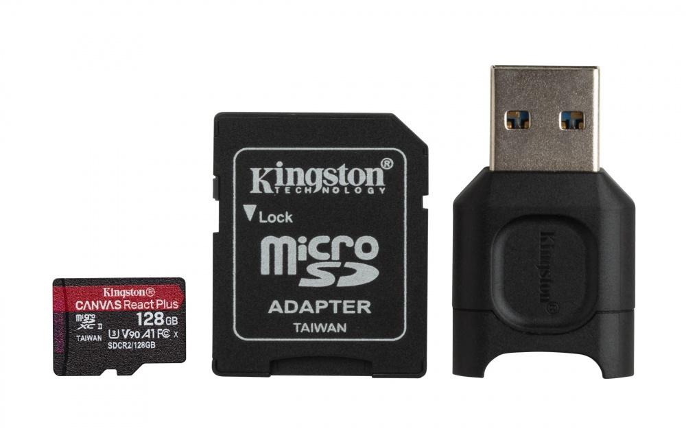 Memoria Flash Kingston Canvas React Plus, 128GB MicroSDXC UHS-II Clase 10, con Adaptador USB