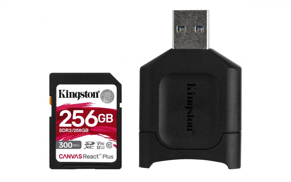 Memoria Flash Kingston Canvas React Plus, 256GB SDXC UHS-II Clase 10, con Adaptador USB