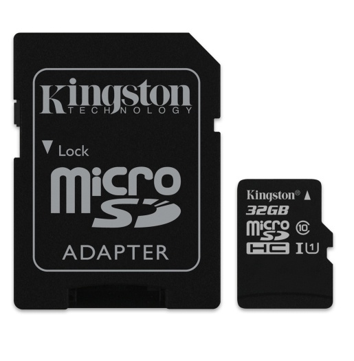 Memoria Flash Kingston, 32GB microSDHC Clase 10, con Adaptador
