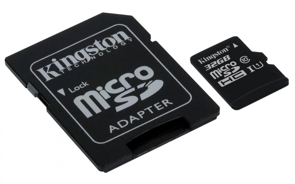 Memoria Flash Kingston, 32GB microSDHC Clase 10 UHS-I, con Adaptador SD