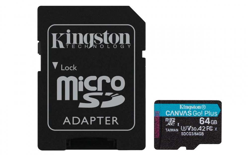 Memoria Flash Kingston Canvas Go! Plus, 64GB MicroSDXC UHS-I Clase 10, con Adaptador