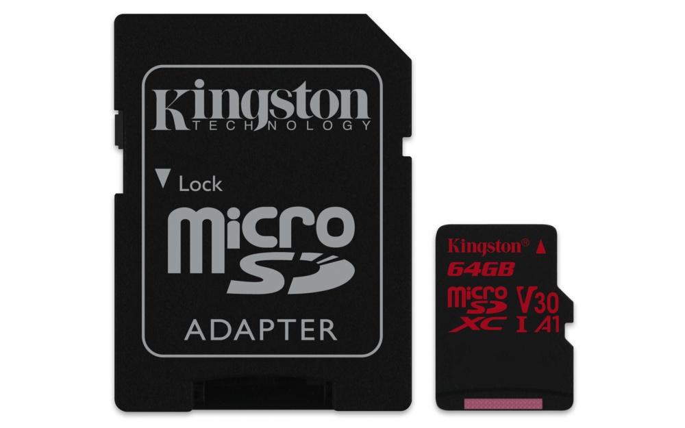 Memoria Flash Kingston Canvas React, 64GB MicroSDXC UHS-I Clase 10, con Adaptador