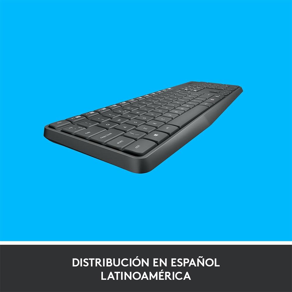 Kit de Teclado y Mouse Logitech MK235, Inalámbrico, USB, Negro (Español)