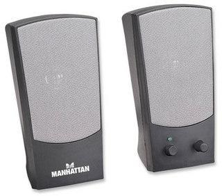 Manhattan Bocinas Serie 2150, Alámbrico, 4W RMS, Negro/Plata