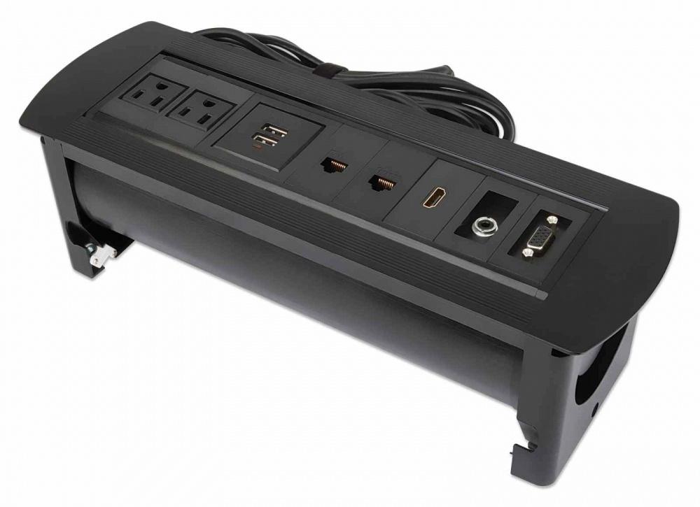 Manhattan Caja para Mesa 164863, 2 Puertos + 2x USB, Negro