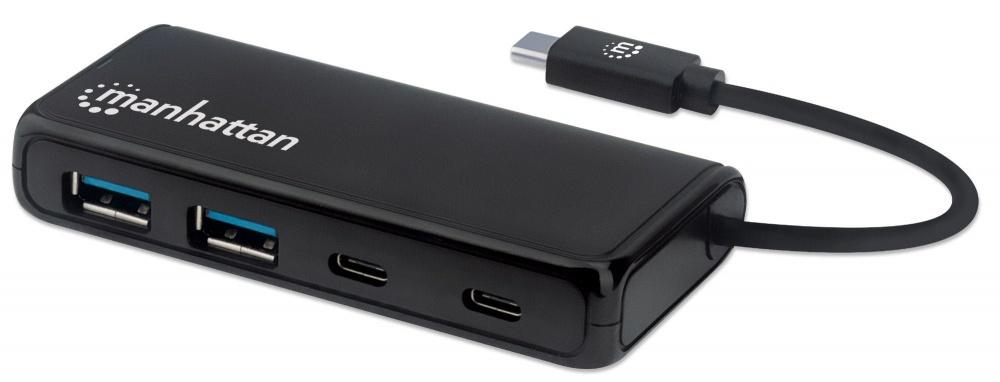 Manhattan Hub USB - 2x USB, 2x USB-C Hembra, 5000 Mbit/s, Negro
