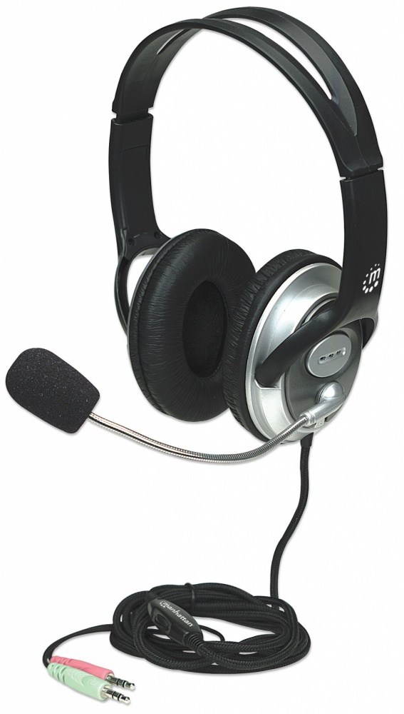 Manhattan Audifono con Micrófono V3 Mediano, 3.5mm, Negro