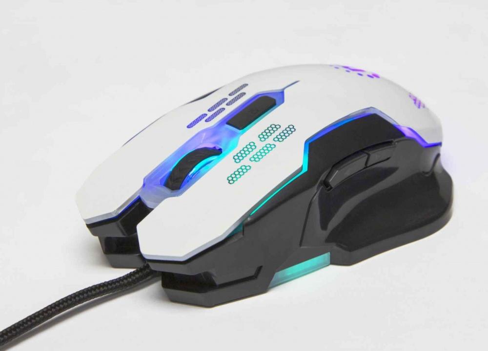 Mouse Gamer Manhattan Óptico 179232, Alámbrico, USB, 2400DPI, Negro/Blanco