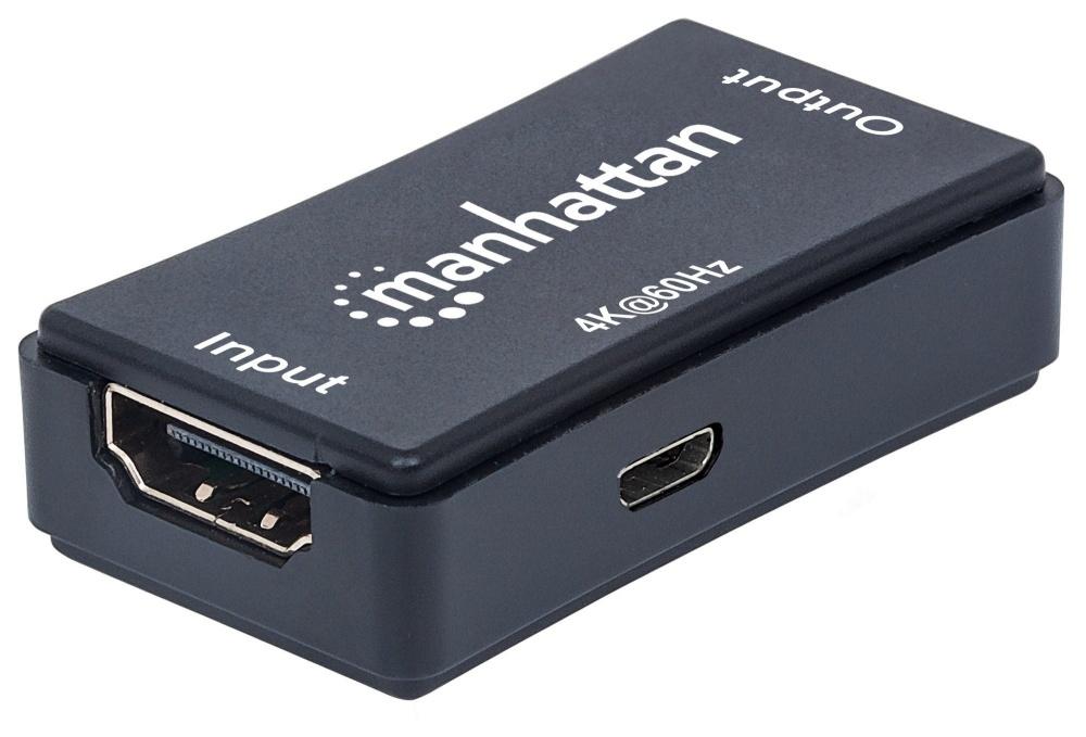 Manhattan Repetidor HDMI Hembra - HDMI Hembra, hasta 40 Metros, Negro - Incluye Puerto MicroUSB B