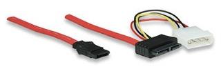 Manhattan Cable 7 pin Macho - 4 pin Hembra, 30cm, Negro/Blanco