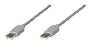Manhattan Cable USB A Macho - USB A Macho, 1.8 Metros, Gris