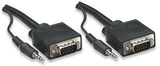 Manhattan Cable SVGA con Audio 8mm, 3.5mm HD15 Macho - 3.5mm HD15 Macho, 3 Metros, Negro