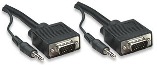 Manhattan Cable SVGA con Audio 8mm, 3.5mm HD15 Macho - 3.5mm HD15 Macho, 7.5 Metros, Negro