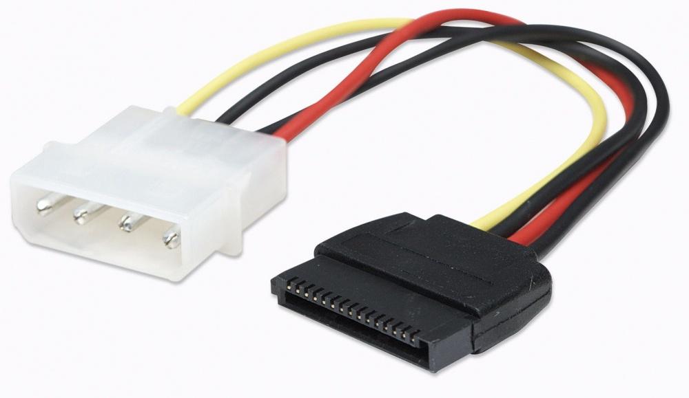 Manhattan Cable 4-pin Molex Macho - 15-pin SATA Macho, 16cm