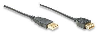 Manhattan Cable USB de Alta Velocidad 2.0 Canshell, USB A Macho - USB A Hembra, 3 Metros, Negro