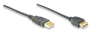 Manhattan Cable USB de Alta Velocidad 2.0 Canshell, USB A Macho - USB A Hembra, 4.5 Metros, Negro