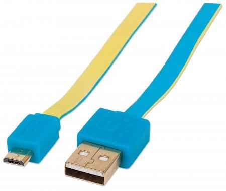 Manhattan Cable Plano USB 2.0 A Macho - Micro USB 2.0 B Macho, 1.8 Metros, Azul/Amarillo