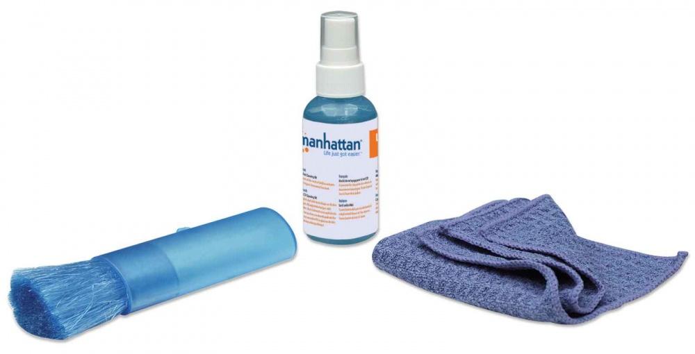 Manhattan  Kit de Limpieza para PC y Pantalla - incluye Solución de Limpieza, Brocha, Paño de Microfibra y Bolsa para Guardar