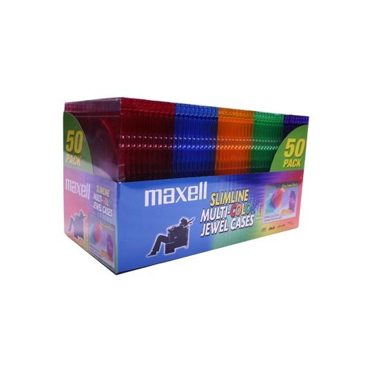 Maxell Estuche Cristal para CD/DVD, 50 Piezas, Varios Colores