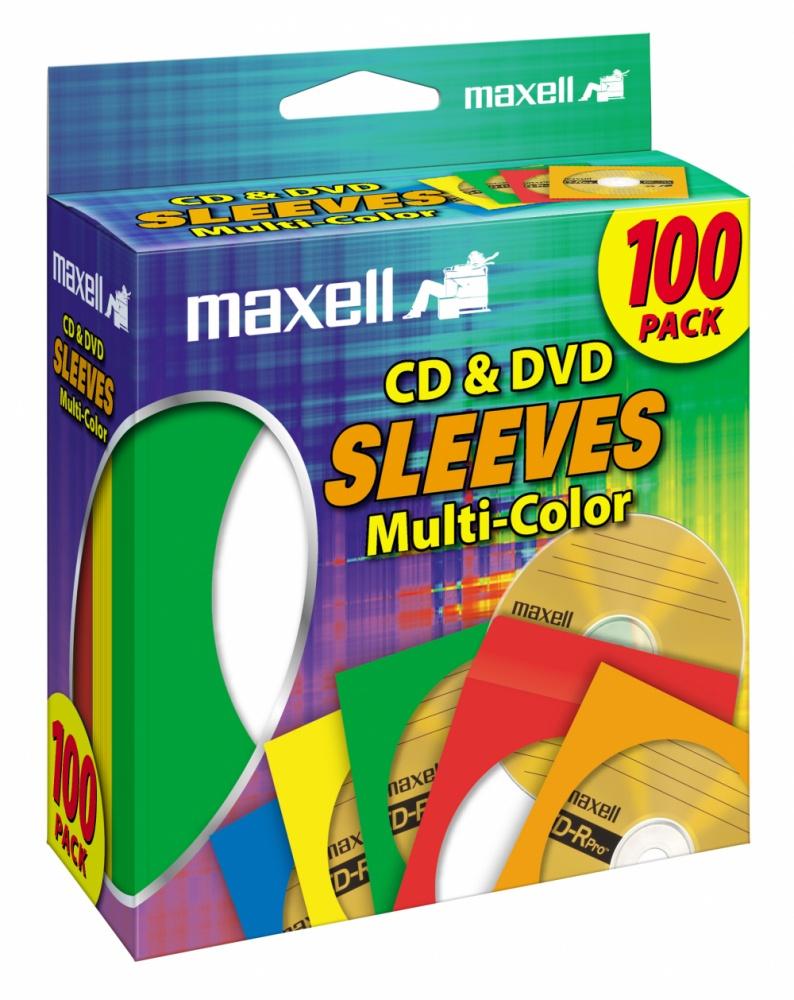 Maxell Sobre para CD/DVD, Multicolor - 100 Piezas