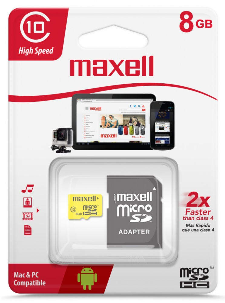 Memoria Flash Maxell, 8GB MicroSD UHS-I Clase 10, con Adaptador