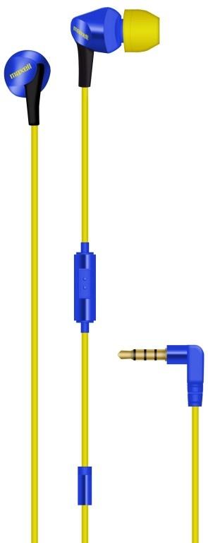Maxell Audífonos Intrauriculares con Micrófono Fusion, Alámbrico, 3.5mm, Azul/Amarillo