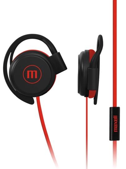 Maxell Audífonos con Micrófono Earhook EC-155, Alámbrico, 3.5mm, Rojo/Negro