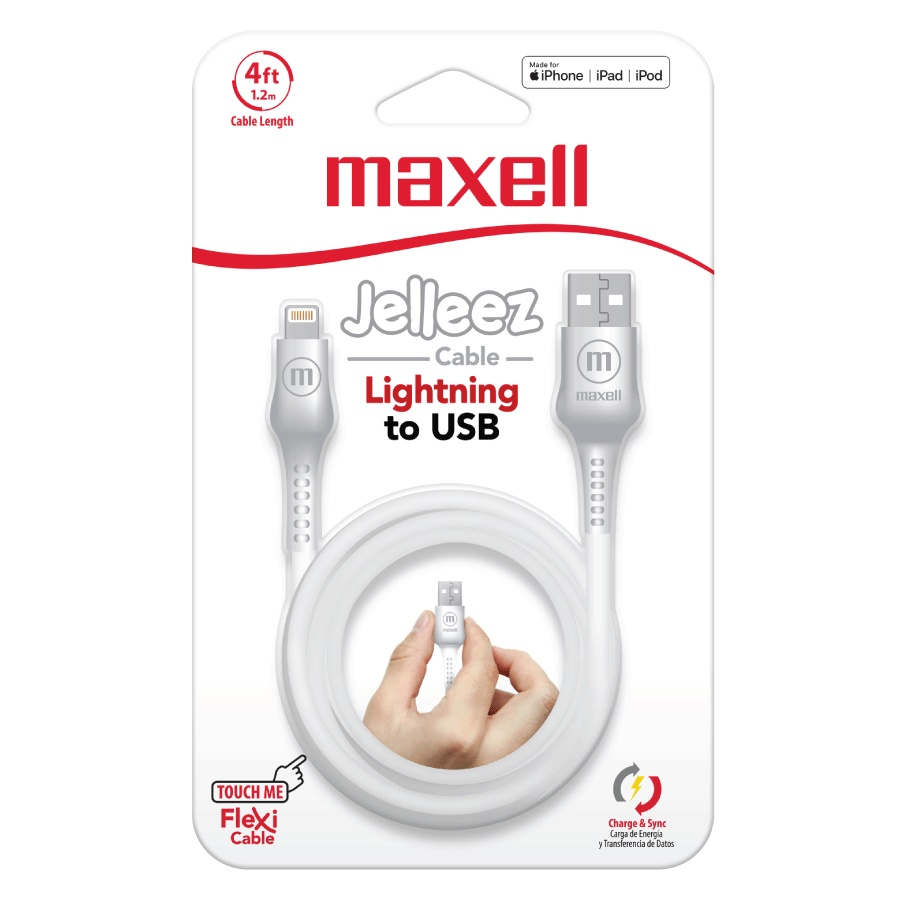 Maxell Cable de Carga Certificado MFi Jelleez Lightning Macho - USB A Macho, 1.2 Metros, Blanco, para iPod/iPhone/iPad