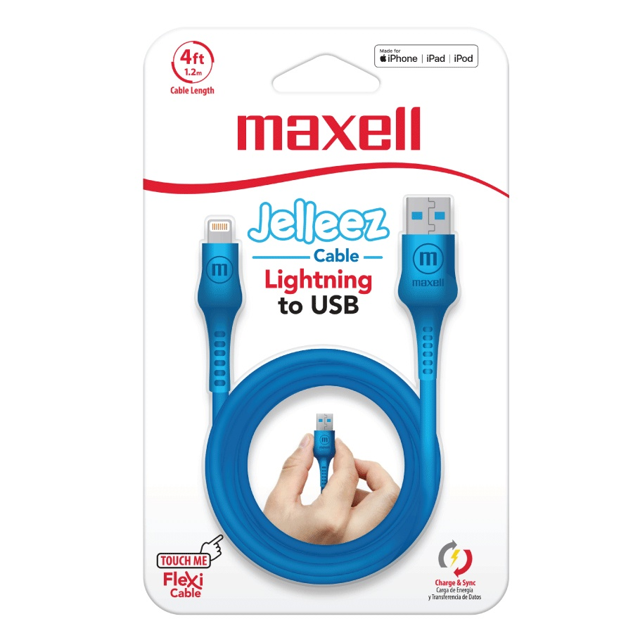 Maxell Cable de Carga Certificado MFi Jelleez Lightning Macho - USB-A Macho, 1.2 Metros, Azul, para iPod/iPhone/iPad