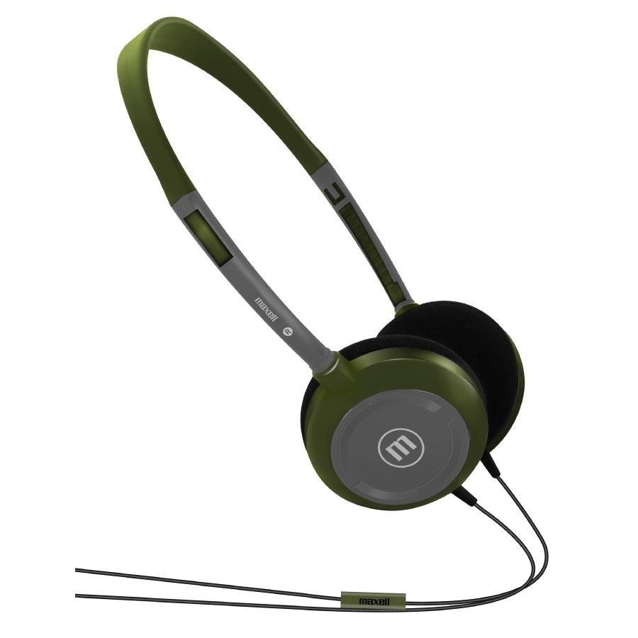Maxell Audífonos con Micrófono UltraLight Headphones, Alámbrico, 3.5mm, Verde/Gris