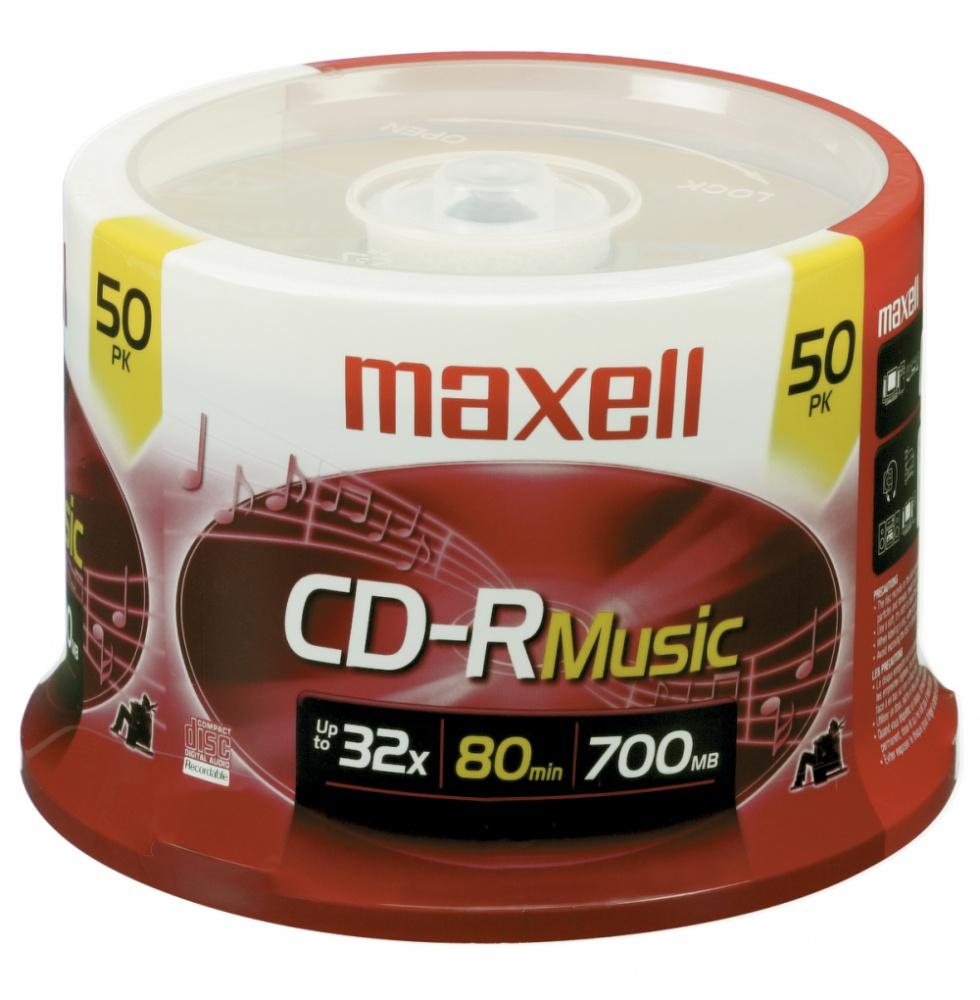 Maxell Torre de Discos Virgenes para CD, CD-R, 32x, 700MB - 50 Piezas