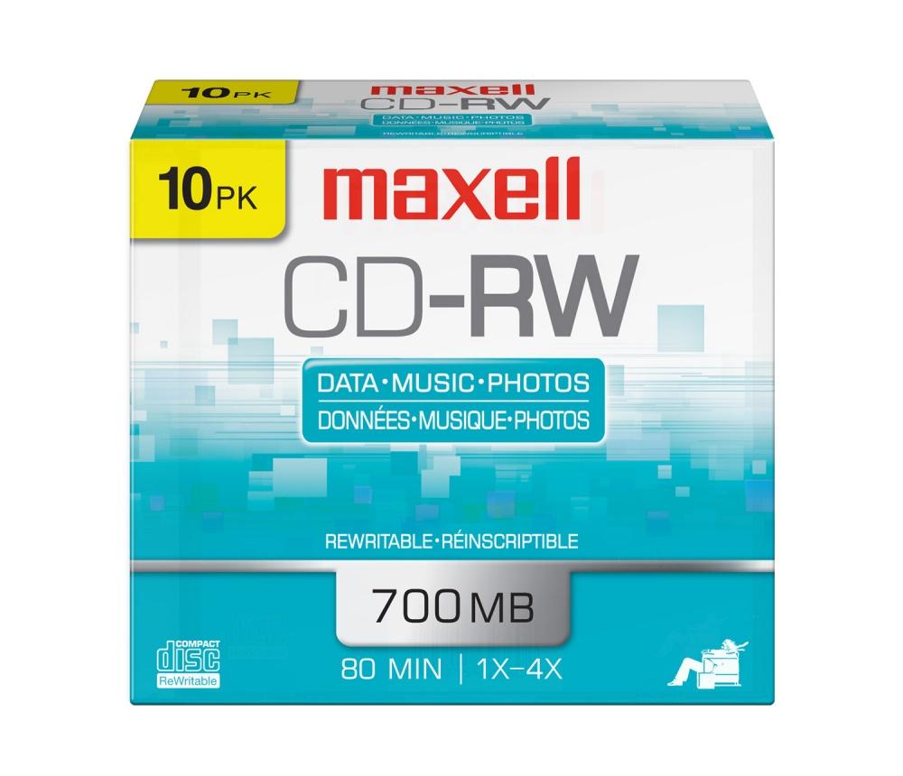 Maxell Discos Virgenes para CD, CD-RW, 4x, 700MB - 10 Piezas