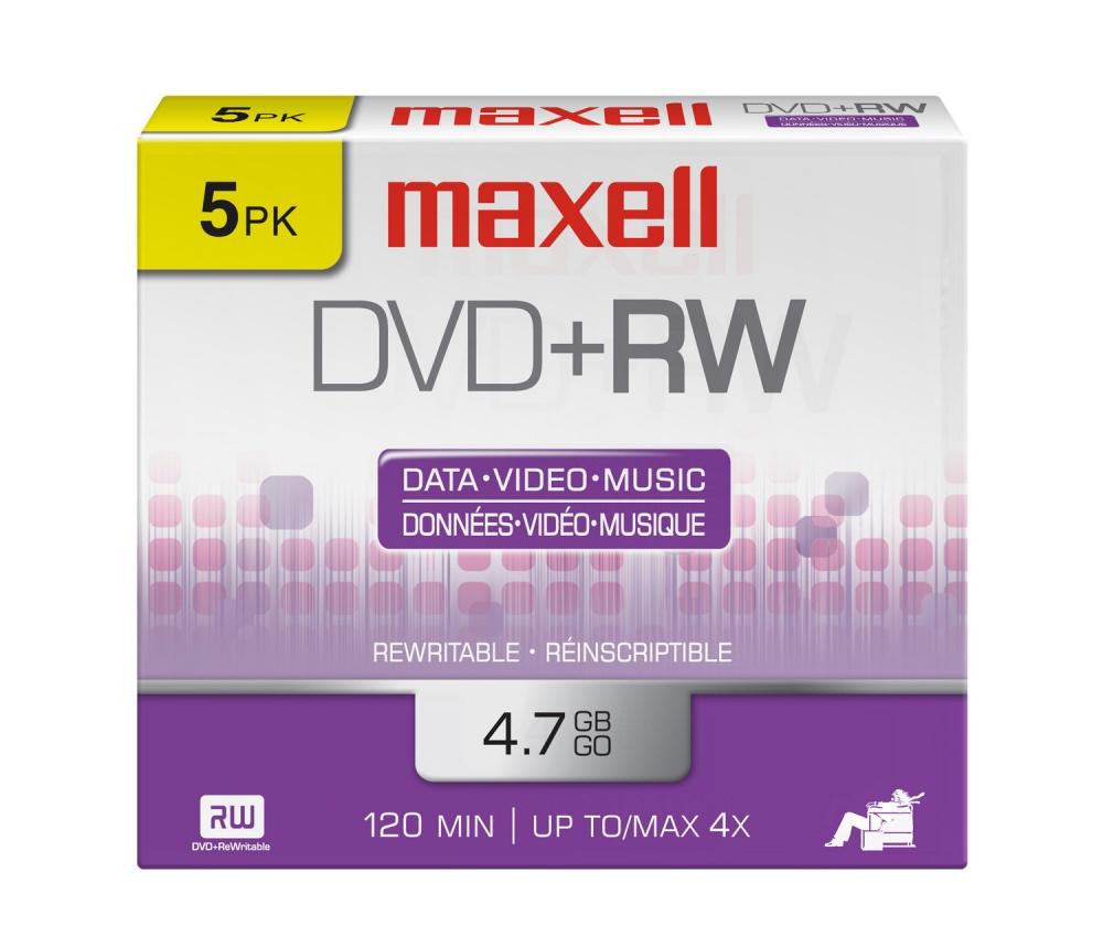 Maxell Torre de Discos Virgenes, DVD+RW, 4x, 4.7GB, 5 Piezas