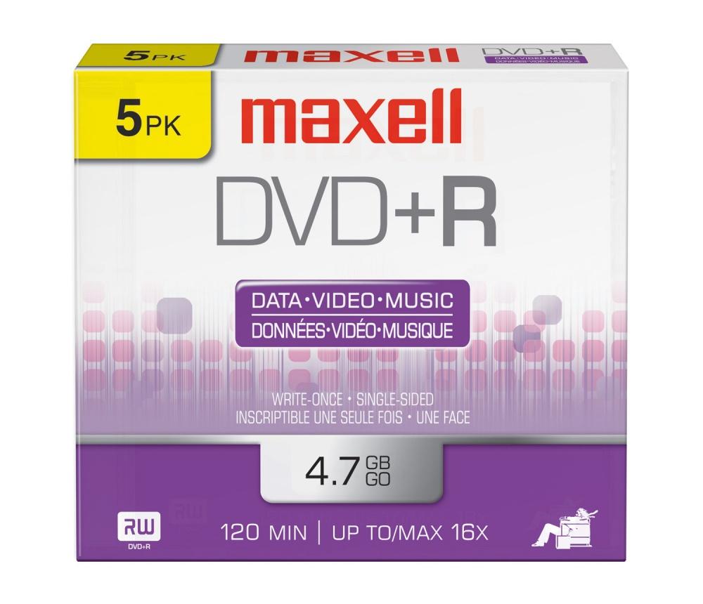 Maxell Disco Vírgen para DVD, DVD+R, 16x, 4.7GB, 5 Piezas