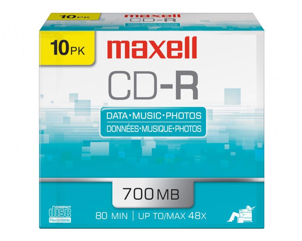 Maxell Discos Virgenes para CD, CD-R, 48x, 700MB - 10 Piezas