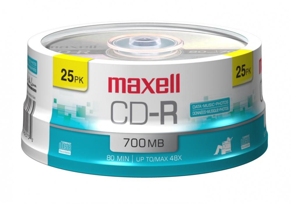 Maxell Torre de Discos Virgenes para CD, CD-R, 48x, 700MB - 25 Piezas