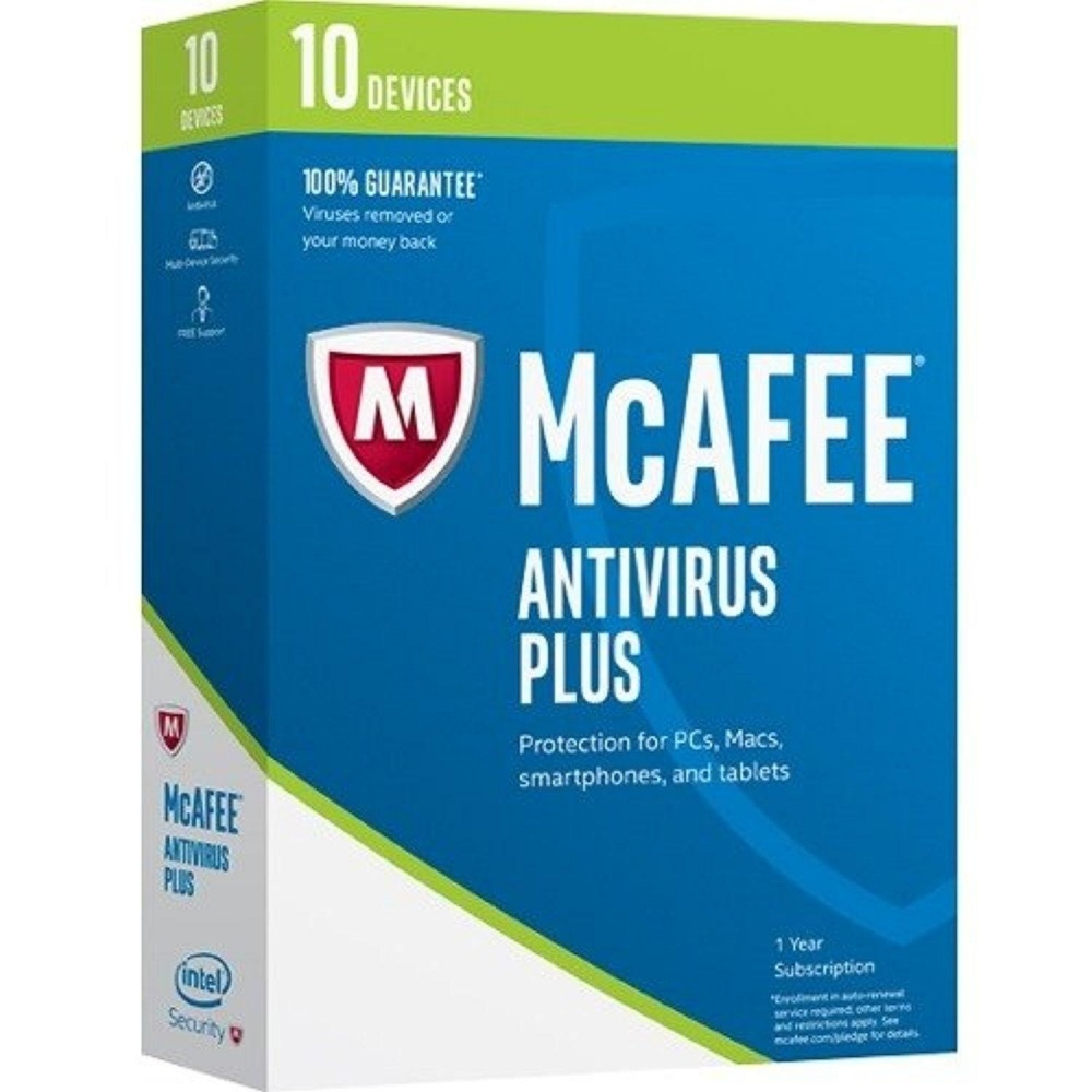 McAfee AntiVirus Plus 2017, 10 Usuarios, 1 Año, Windows/Mac/Android/iOS