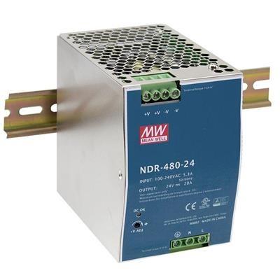 Mean Well Fuente de Poder NDR-480-48, Entrada 90 - 264V, Salida 48V, 10A