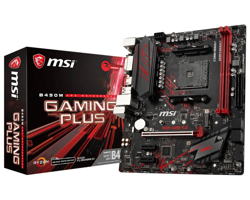 Tarjeta MSI Madre micro ATX B450M GAMING PLUS, S-AM4, AMD B450, 32GB DDR4 para AMD Ryzen