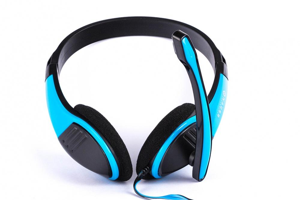 Naceb Audífonos NA-589AZ, Alámbrico, 2 Metros, 3.5mm, Azul