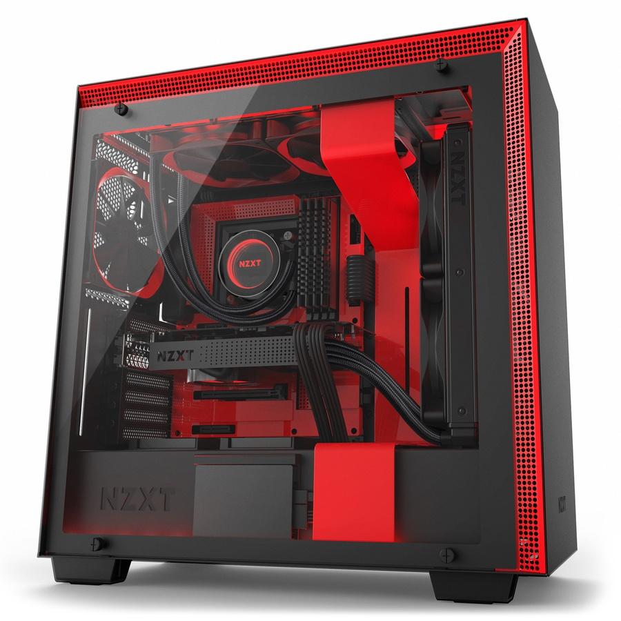 Gabinete NZXT H700i con Ventana RGB, Midi-Tower, ATX/EATX/Micro-ATX/Mini-ITX, USB 2.0/3.0, sin Fuente, Negro/Rojo