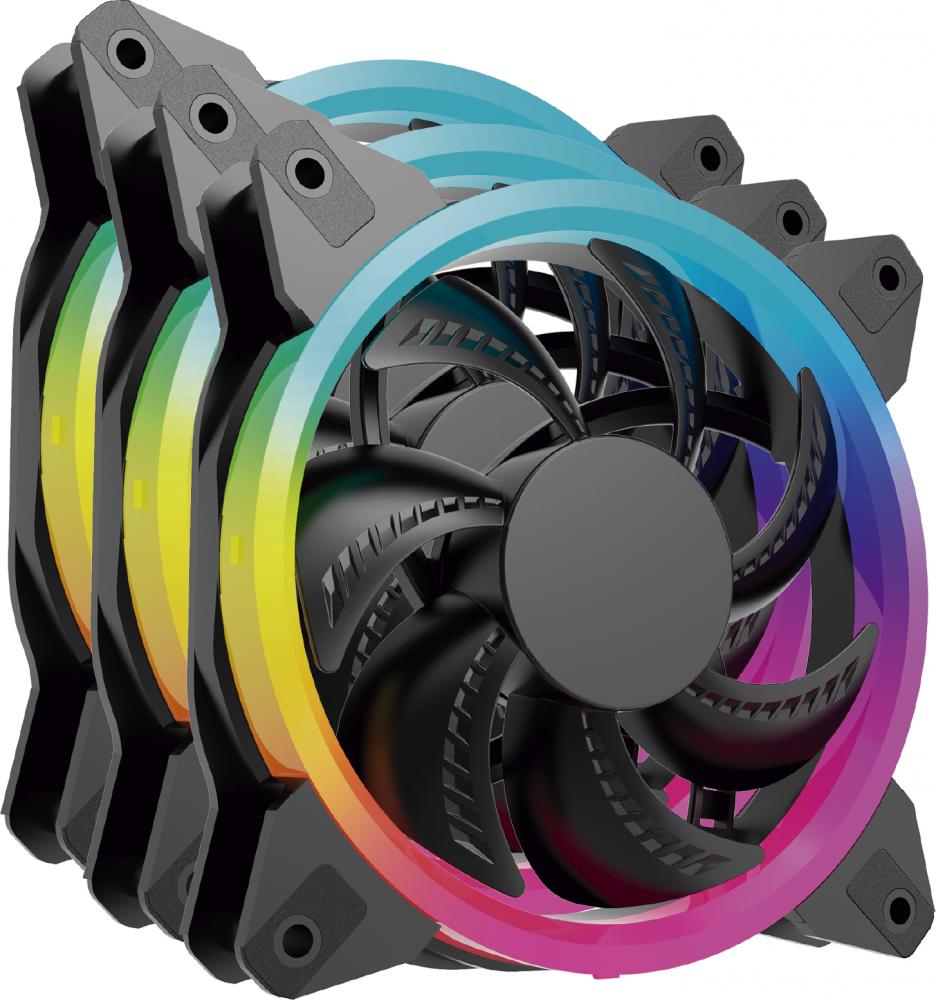 Ventilador Ocelot Gaming OGPF01 RGB, 120mm, 1200RPM, Negro - 3 Piezas