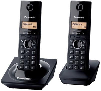 Panasonic Teléfono Inalámbrico DECT con 2 Auriculares, Pantalla LCD, Negro