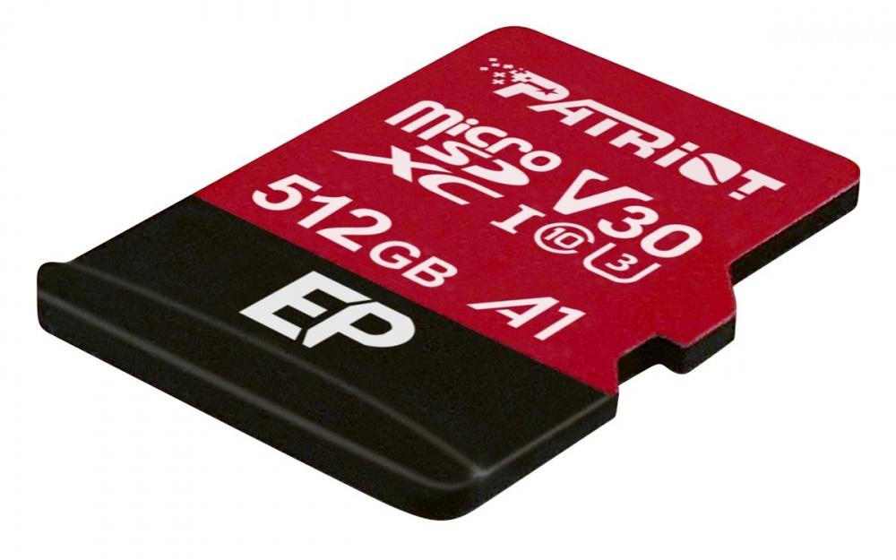 Memoria Flash Patriot EP V30 A1, 512GB MicroSDXC UHS-I Clase 10, con Adaptador