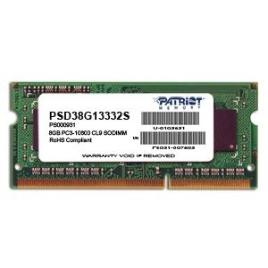 Memoria RAM Patriot PC3-10600 DDR3, 1333MHz, 8GB, Non-ECC, CL9, SO-DIMM, Dual Rank