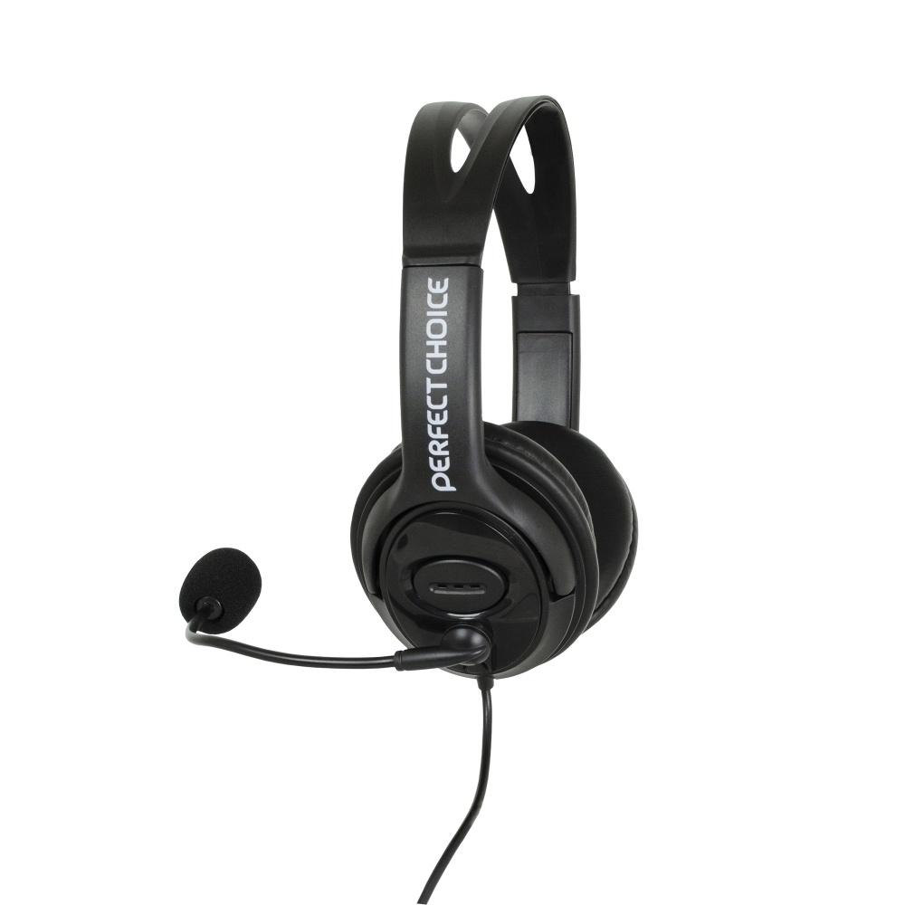 Perfect Choice Audífonos con Micrófono PC-111009, Alámbrico, 2 Metros, USB, Negro