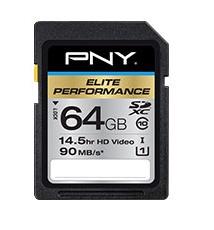 Memoria Flash PNY Elite Performance, 64GB SDXC UHS-I Clase 10, Lectura 90 MB/s